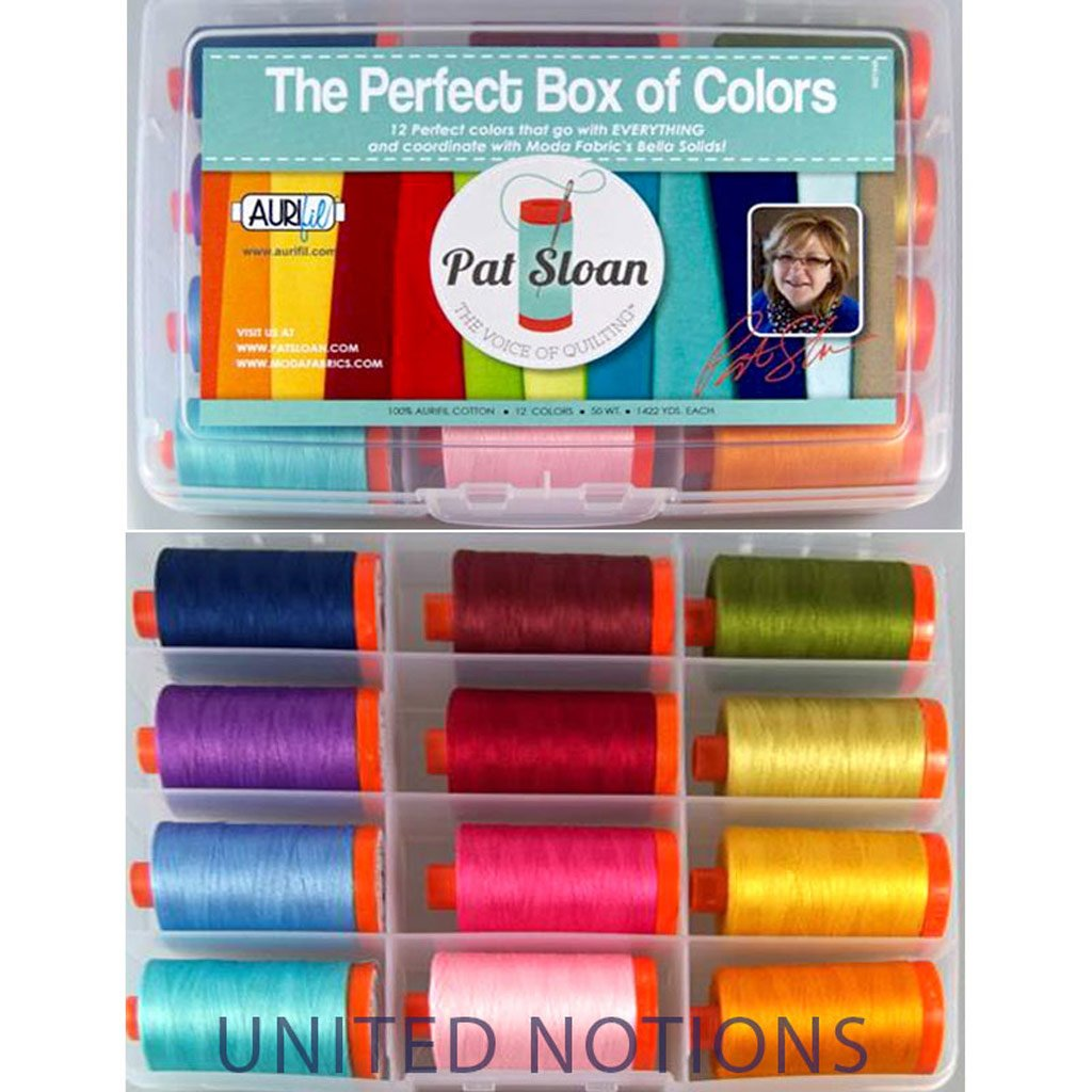 Aurifil Thread Set THE PERFECT BOX OF COLORS By Pat Sloan 50wt Cotton 12 Large (1422 yard) Spools PSCB5012