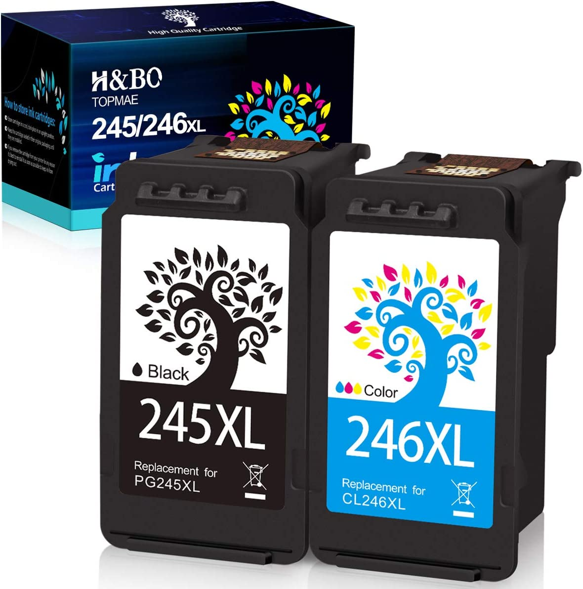 H&BO TOPMAE Remanufactured Ink Cartridges Replacement for Canon Ink cartridges 245 and 246 PG-245 CL-246 PG-243 CL-244 Used for PIXMA TS202 TS3120 TR4520 IP2820 MX490 MX492 (1 Black +1 Tri-Color)
