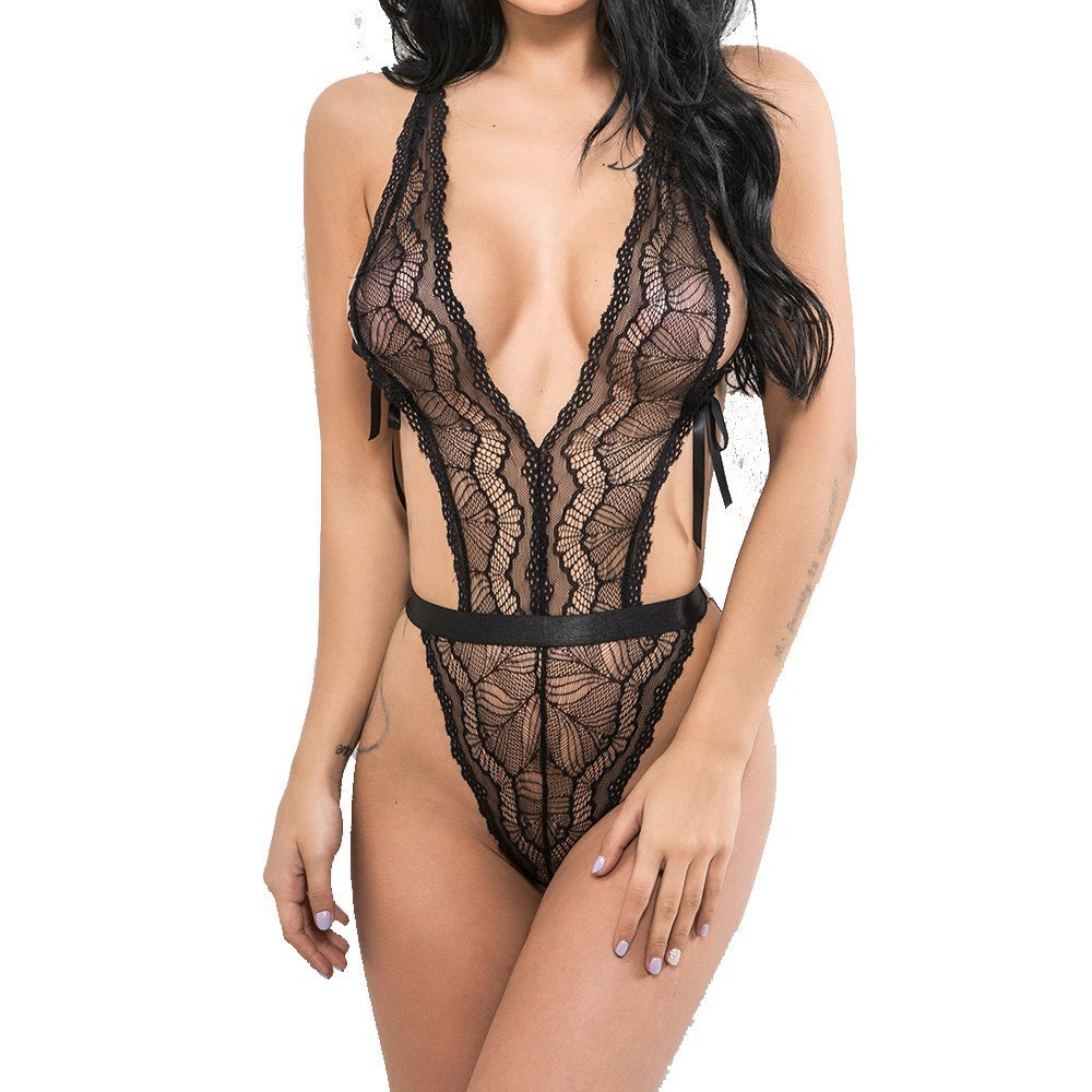 52a690b3798 Tecing Lingerie for Women Sexy Halter Teddy One Piece Lace Babydoll Black