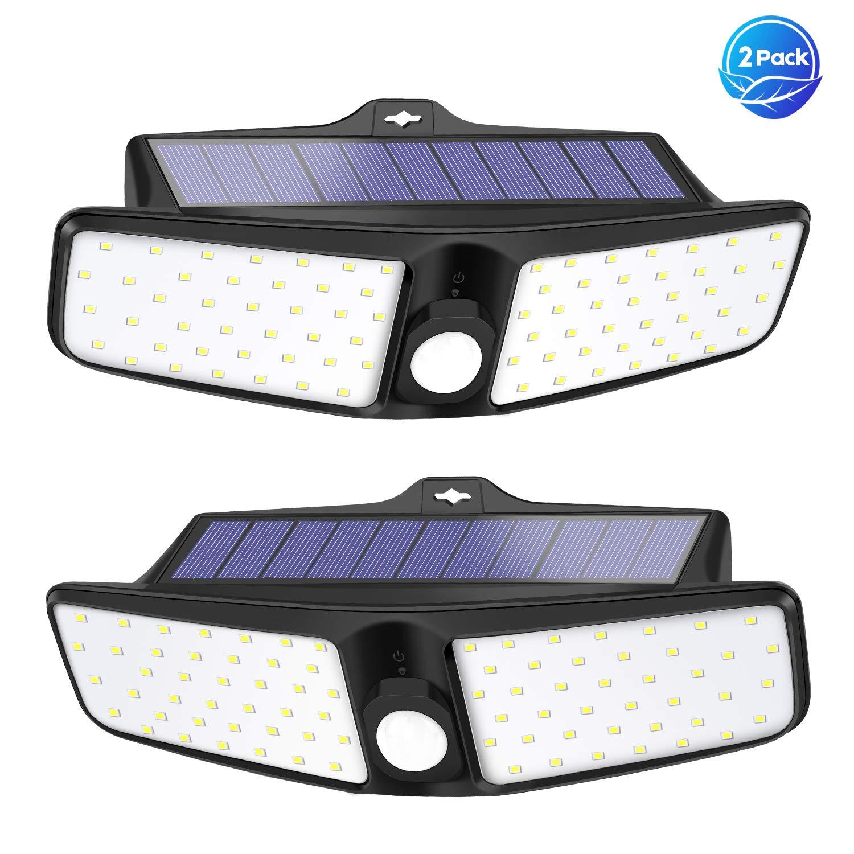 VOSONX Solar Lights Outdoor - 80 LEDs Flood Light, Wireless Solar Motion Sensor Light, IP65 Waterproof Solar Security Lights - 270° Wide Angle Outdoor Lights for Garage, Backyard, Front Door (2 Pack) by VOSONX