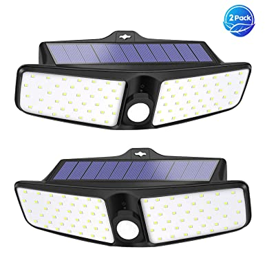 VOSONX Solar Lights Outdoor – 80 LEDs Flood Light, Wireless Solar Motion Sensor Light, IP65 Waterproof Solar Security Lights – 270 Wide Angle Outdoor Lights for Garage, Backyard, Front Door 2 Pack