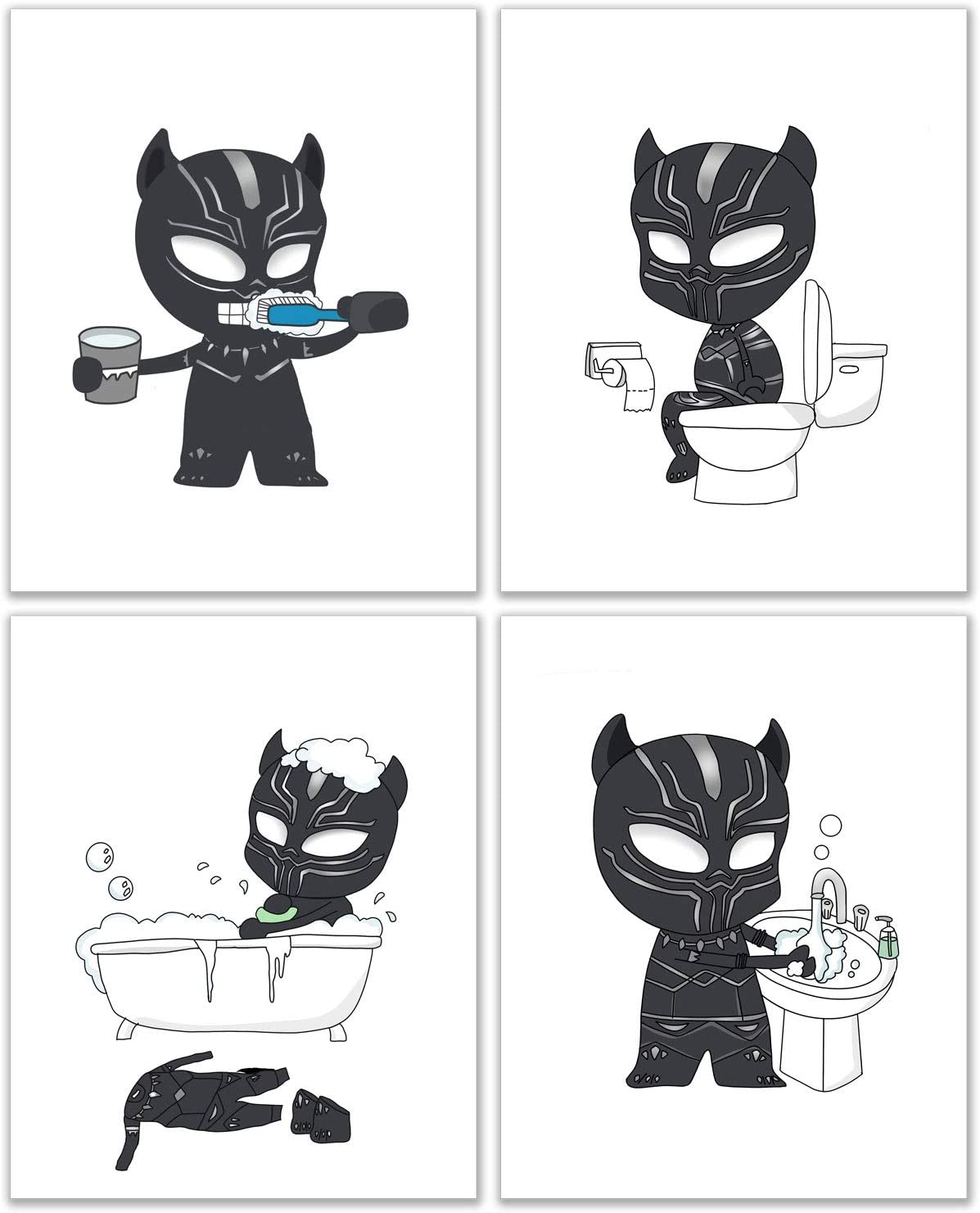 Black Panther Bathroom Photos - Set of 4 (8 inches x 10 inches) Kids Prints