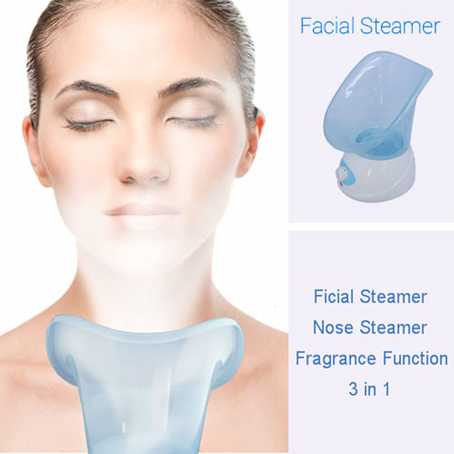 Healtheveryday® 3 in 1 New Facial Steamer & Nose Steamer & Aromatherapy Machine Spa Pores Cleaner Face Skin Sauna Steam Sprayer Facial Mist Thermal Steamer (Blue)