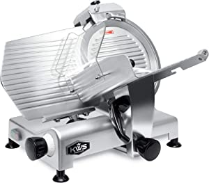 KWS MS-12NS Premium Commercial 420w Electric Meat Slicer 12-Inch Stainless Steel Blade, Frozen Meat/ Cheese/ Food Slicer Low Noises Commercial and Home Use [ ETL, NSF Certified ]