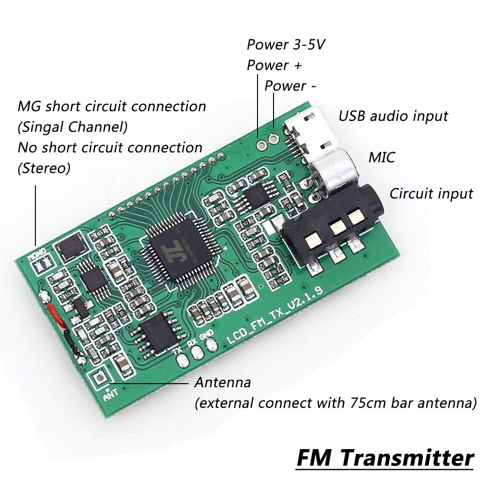 Icstation Mini Digital Fm Transmitter Wireless Microphone Module Dsp 8w Pll Stereo With Lcd Welcome