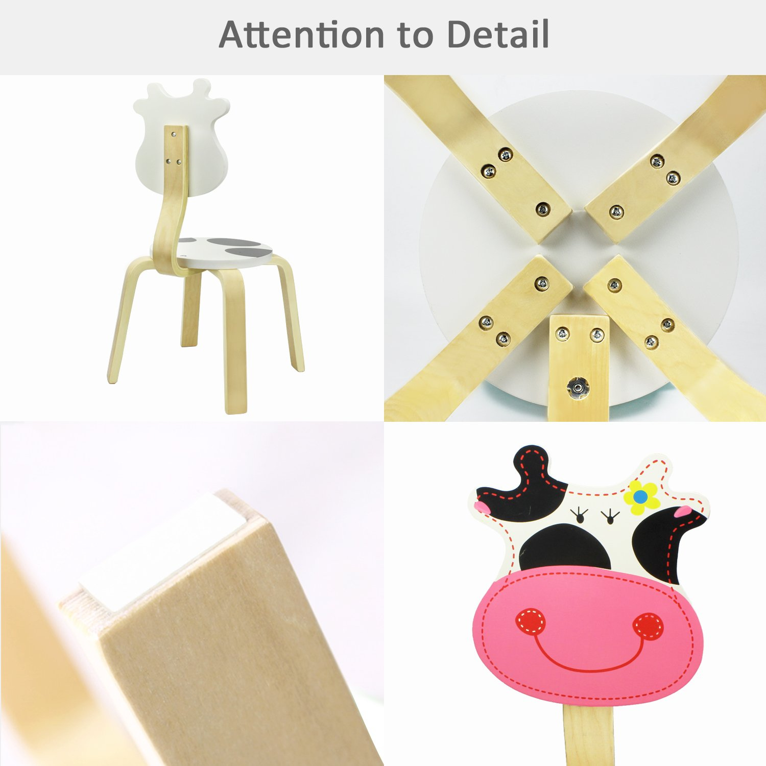 iPlay, iLearn Kids Wood Stacking Chair, Cute Cow Seat for Indoor, Outdoor, Playroom, Time Out, Classroom, Daycare, School Learning Furniture Round Stool for 2, 3, 4, 5 Year Olds Up Child, Boy, Girl by iPlay, iLearn (Image #4)