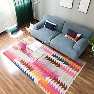 SE7VEN Nordic simple geometric pattern carpet Hand made Coffee table living room bedroom rug-A 90x160cm(35x63inch)