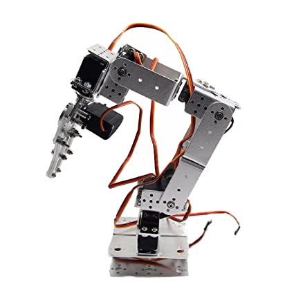 Bluelover Rot2U 6Dof Aluminio Robot Brazo Abrazadera Garra Kit De Montaje Con Servos Para Arduino-