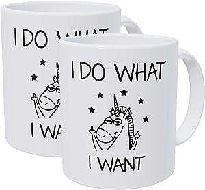 Willcallyou Pack of 2 Unicorns I Do What I Want. 11 Ounces Funny White Coffee Mug