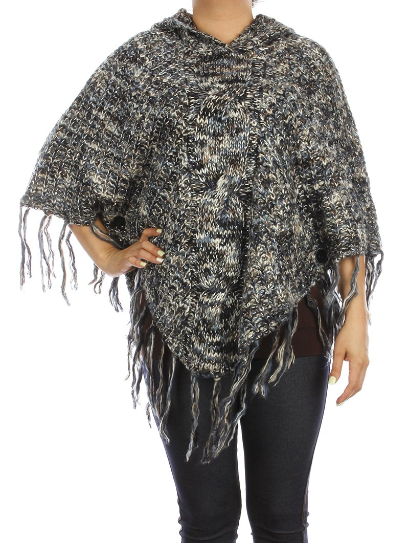 RI001 SEQUIN EMBELLISHED HOODED PONCHO SCARF