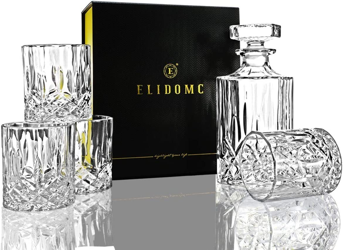 Crystal Decanter Set With 4 Whiskey Glasses ELIDOMC 5PC Italian Crafted Crystal Whiskey Decanter /& Whiskey Glasses Set 100/% Lead Free Whiskey Glass Set