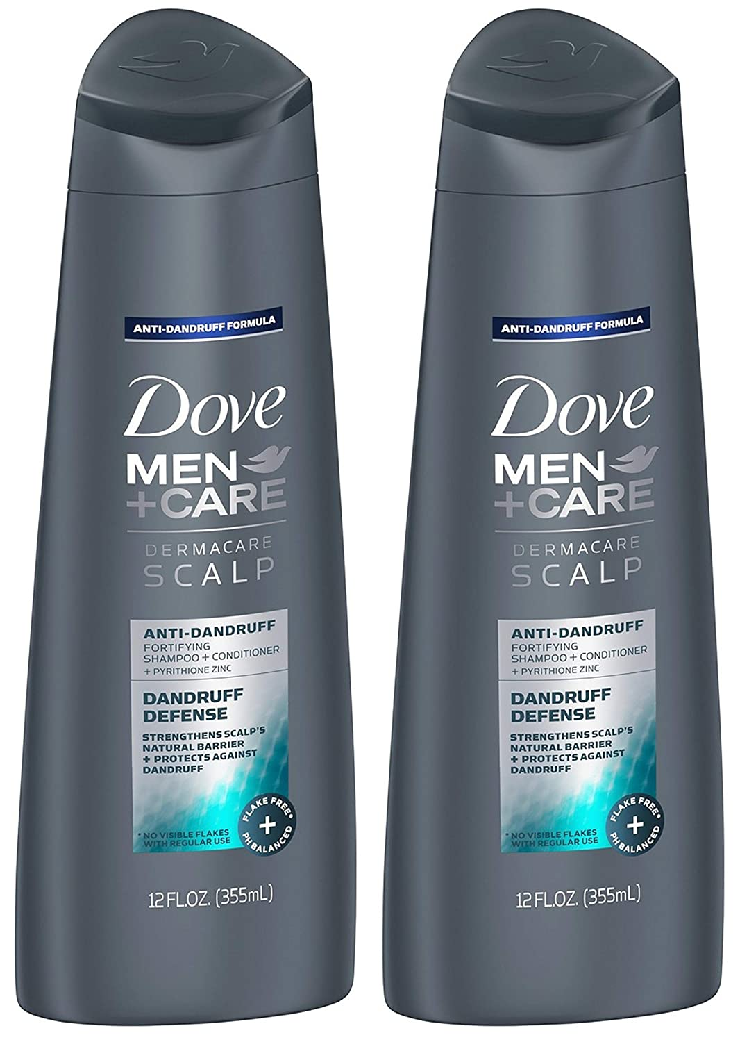Dove Men+Care Dermacare Scalp 2-in-1 Shampoo + Conditioner, Dandruff Defense, 12 Ounce (Pack of 2)
