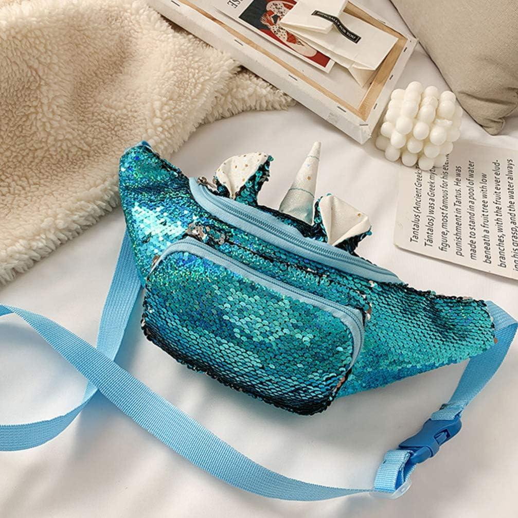 Plata FENICAL Ri/ñonera Lentejuelas Mujer Ri/ñonera Unicornio Glitter Sling Paquetes de Viaje Bolsa Antirrobo en El Pecho para Beb/és Ni/ños Ni/ñas