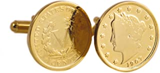 product image for Gold-Layered Liberty Nickel Cufflinks