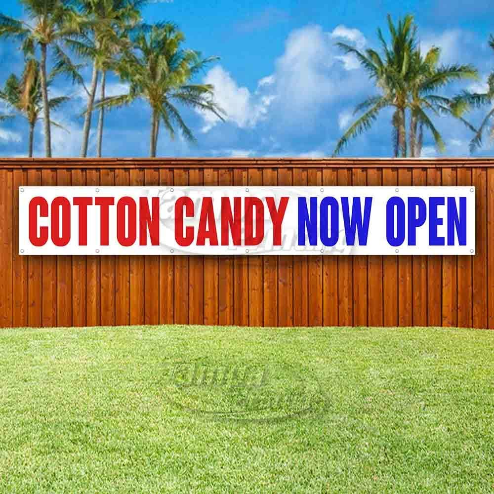 New Store Advertising Flag, Cotton Candy Now Open Extra Large 13 oz Heavy Duty Vinyl Banner Sign with Metal Grommets Many Sizes Available