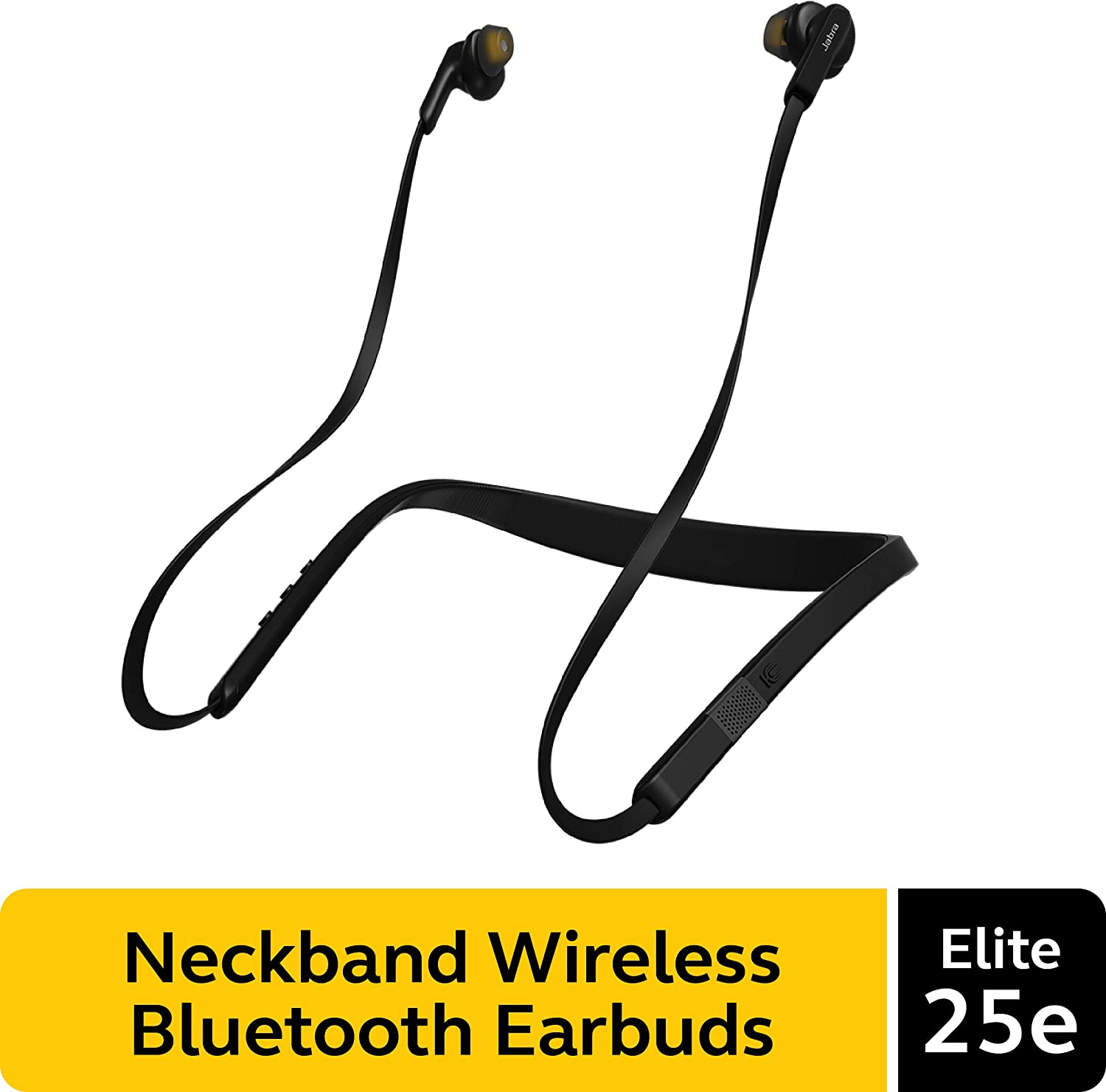 Jabra Elite 25e Wireless Earbuds, Black – Voice Assistant and Bluetooth Enabled, Around-the-Neck Style with a Secure Fit and Superior Sound for Music and Calls, Long Battery Life, Android & iOS