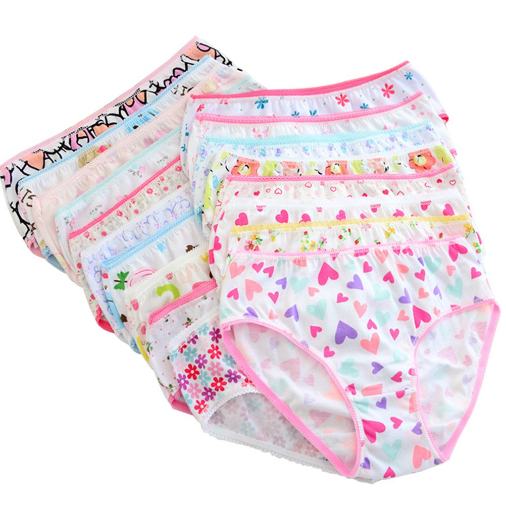 Adiasen Big Girls' 12-pack Cotton Underwear Briefs Hipster Knickers boxer