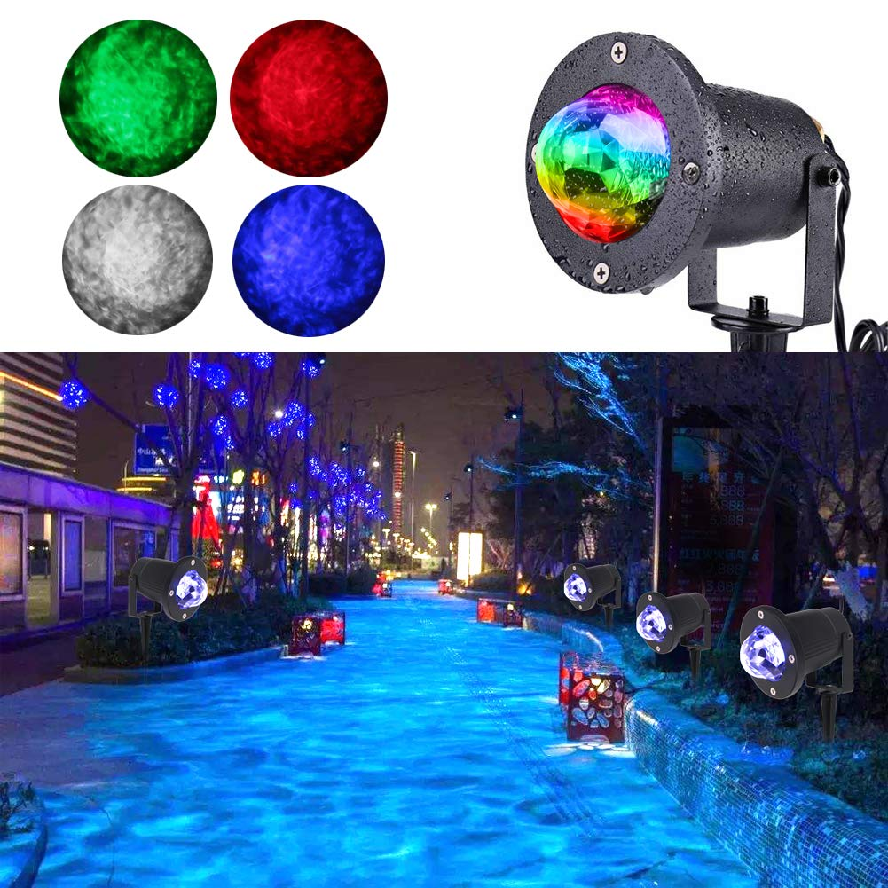KOOT Water Wave Light Projector, 10 Multi Colors Christmas Halloween Outdoor Garden Light Water Effect or Flame Fire Effect Waterproof with Remote for Landscape Party Wedding Holiday by KOOT