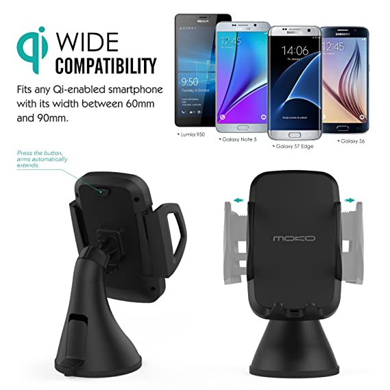 MoKo Qi Wireless Car Charger Dock, Triple-Coil Qi-Enabled Car for iPhone XS/XS MAX,Note 8/9, LG Nexus 5/4 / 7, Samsung Galaxy S6 / S6 Edge, Note 3 / Note 2, ...
