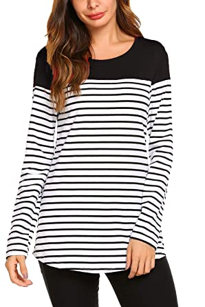db6fbb7f6eb SimpleFun Women's Casual Long Sleeve Round Neck T-Shirts Striped Shirts  Color Block Tunic Tops Patchwork Blouse at Amazon Women's Clothing store: