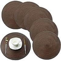 Heat-Resistant Crossweave Woven Set of 6 Placemat PVC Placemats-EXCO Kitchen Place Mats Washable PVC Table Mats Set of 6…