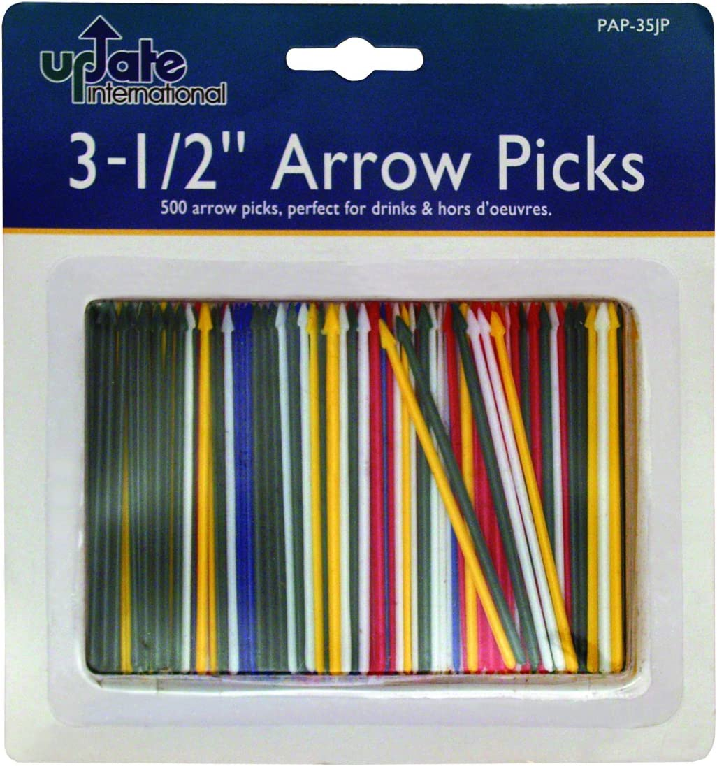 Update International 500-Pack Plastic Arrow Toothpick, 3-1/2-Inch