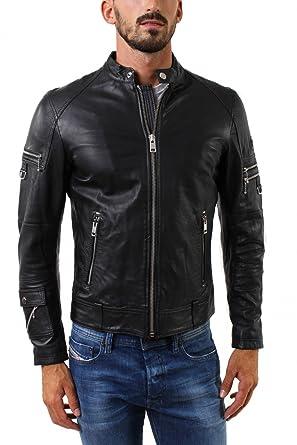 93b8a5ce Image Unavailable. Image not available for. Color: Diesel Men's Black L- Sound Leather Jacket ...