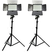 DIGIPRO LED-528 Professional LED Video Light Kit (2) Dual Color, with Battery & Charger, Light Stand for YouTube Studio Photography, Video Shooting
