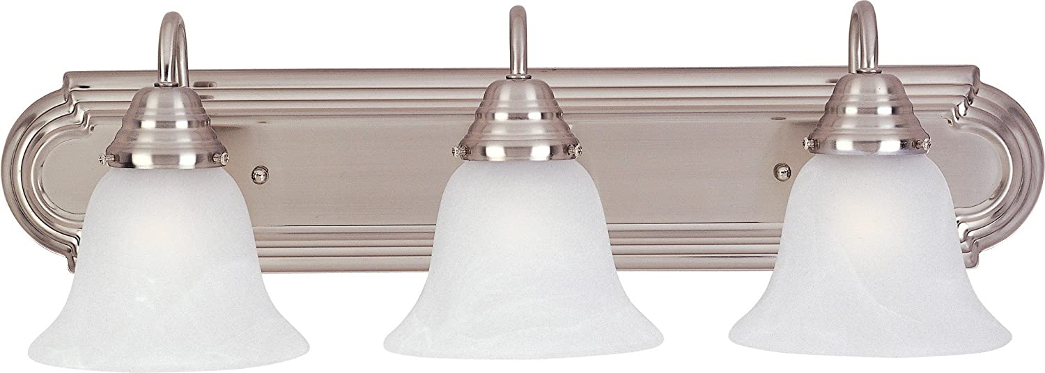 Maxim 8013MRSN Essentials 3-Light Bath Vanity, Satin Nickel Finish, Marble Glass, MB Incandescent Incandescent Bulb , 60W Max., Dry Safety Rating, Standard Dimmable, Metal Shade Material, Rated Lumens