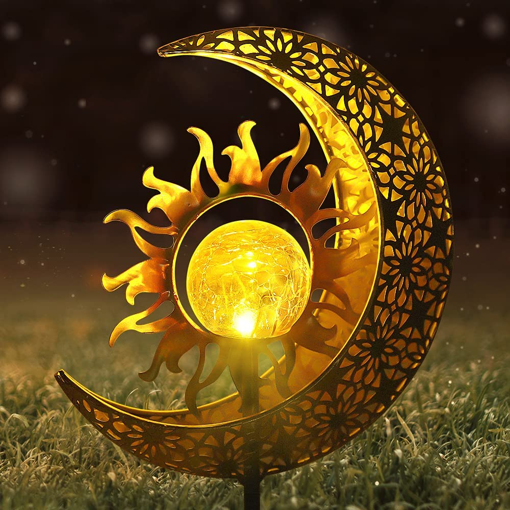 Solar Lights KLMNDUO Sun & Moon Solar Lights Garden Outdoor Decorative, Stakes Cracked Glass Globe Garden Lights Solar Powered Waterproof Metal Decorative Stakes for for Lawn,Patio or Courtyard