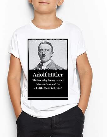 Adolf Hitler White Round Neck T-Shirt For Kids 12-14 Years