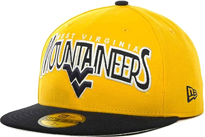 49a0f232a49d5 New Era West Virginia Mountaineers Profilin NCAA 59FIFTY Fitted Cap Hat  (Gold-Black