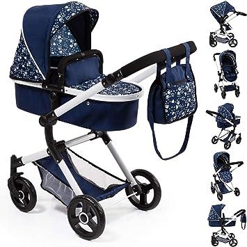 18481AA Bayer Design- Passeggino Neo Vario Colore Blu con Cuori Carrozzina per Bambole Regolabile in Altezza