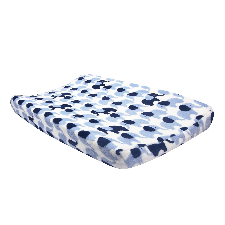 Lambs & Ivy Indigo Elephant Blue/White Safari Changing Pad Cover