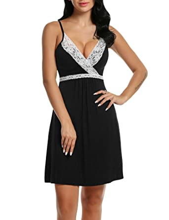 f0138d666a Hotouch Sleepwear Womens Chemise Nightgown Full Slips Lace Sling Dress Sexy  Lingerie S-XXL (