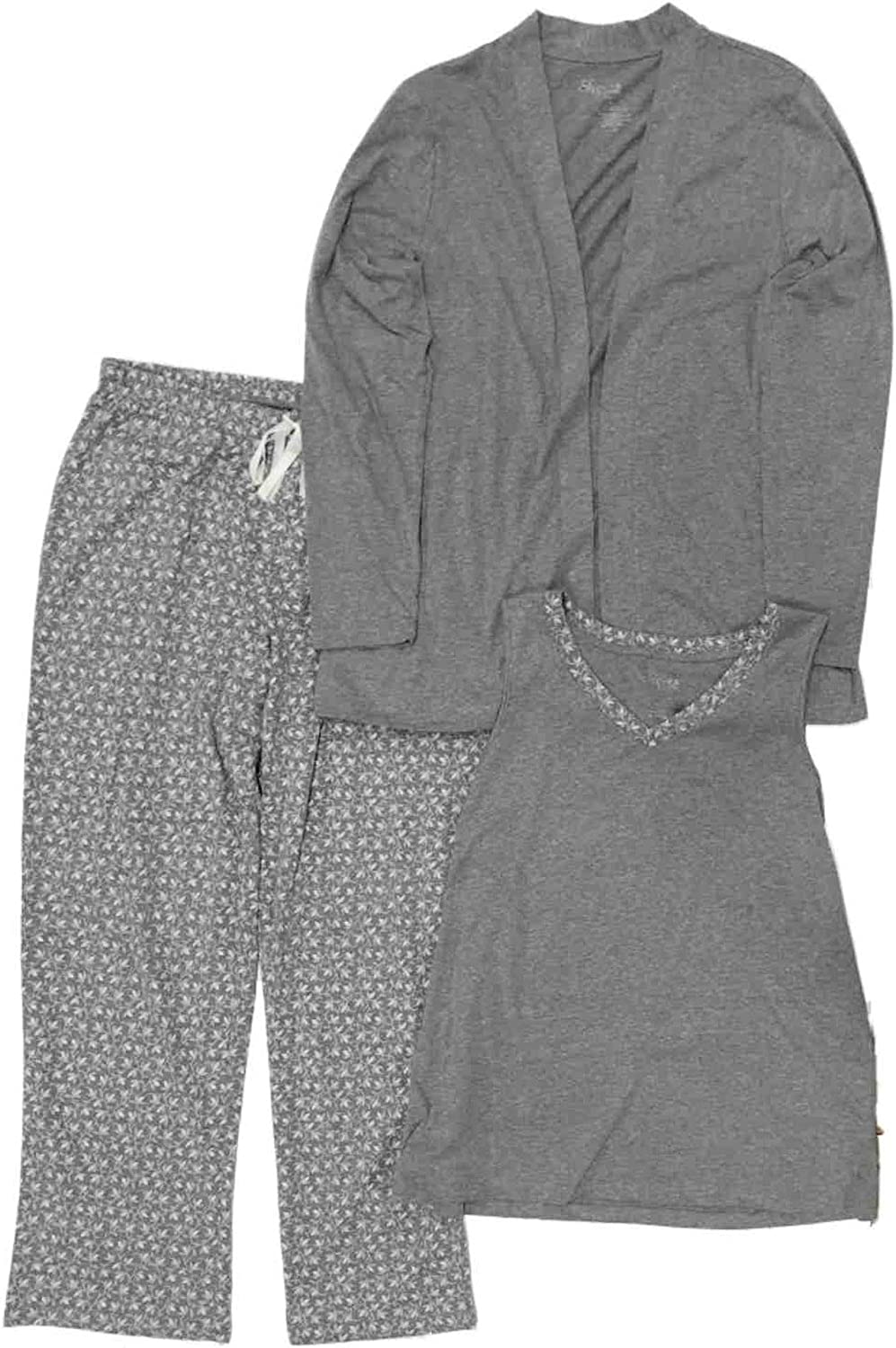 Womens Knit Pajama Set GRAY TANK TOP Love Arrows RED PLAID SHORTS Size S 4-6