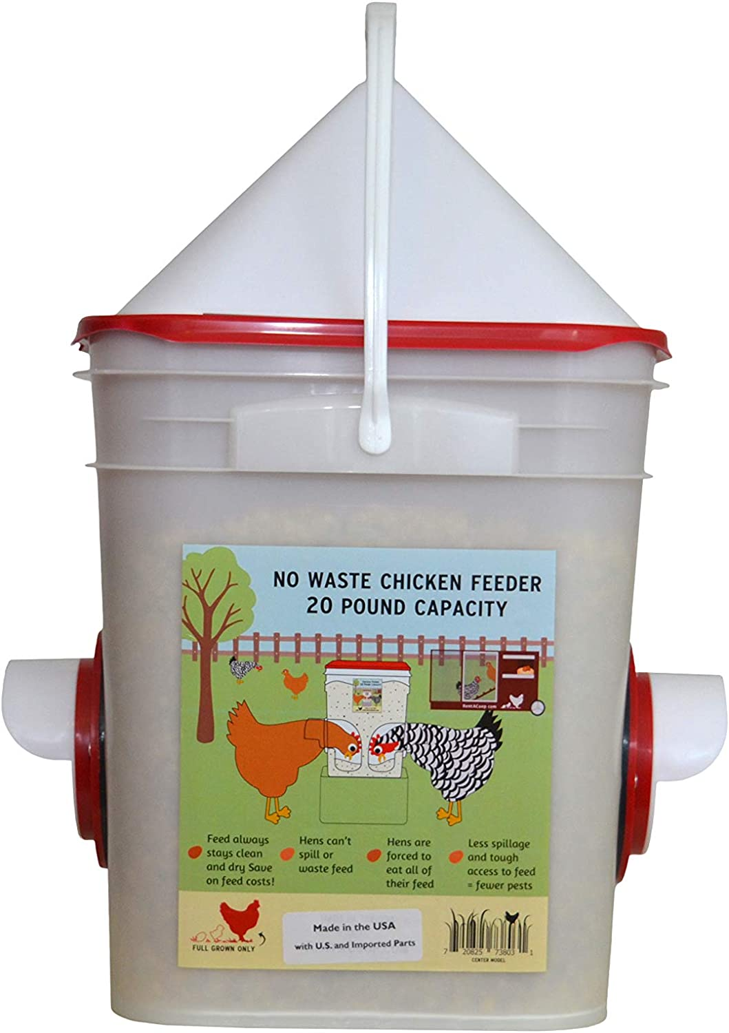 Chicken Feeder-Holds 20 Pounds-Pellets-Crumbles-Grain in Bucket - for 21st Century Chicken Owners - Inside or Outside of Coop - Use with Nipple Waterer