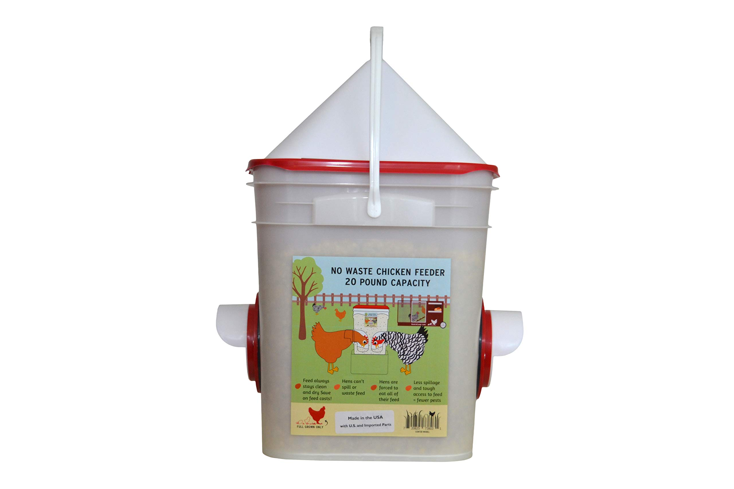 Chicken Feeder-Holds 20 Pounds-Pellets-Crumbles-Grain in Bucket - for 21st Century Chicken Owners - Inside or Outside of Coop - Use with Nipple Waterer (2 Feed Ports - Center (4-6 Hens)) by RentACoop