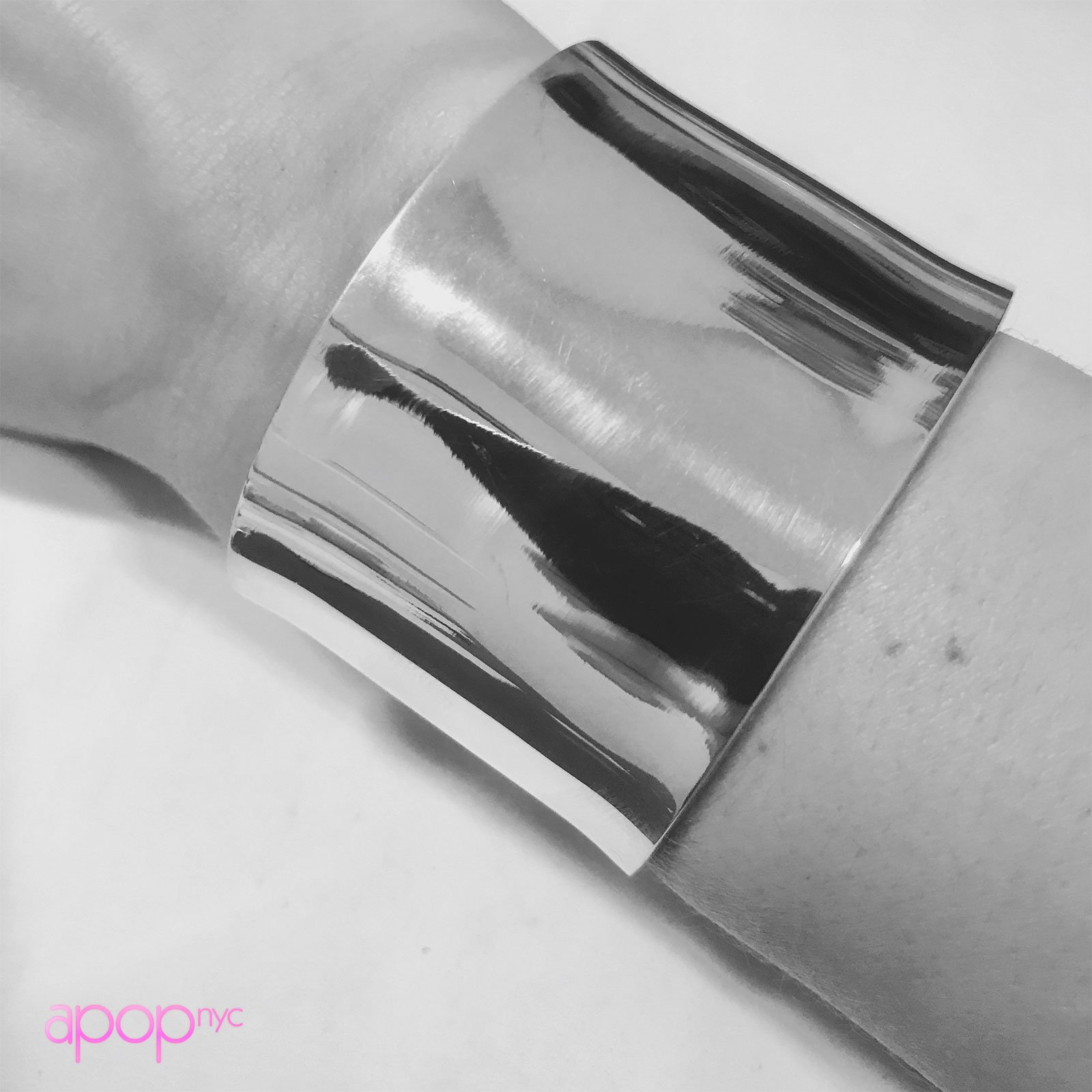 apop nyc 925 Sterling Silver Wide Statement Cuff Bangle Bracelet [Jewelry] by apop nyc (Image #3)