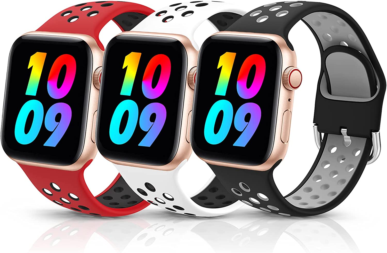 3 Pack Sport Silicone Bands Compatible with Apple Watch Bands 42mm 44mm Women Men, Breathable Soft Wristband Replacement Compatible for iWatch Series 6 5 4 3 2 1 SE(Color4,42MM/44MM)