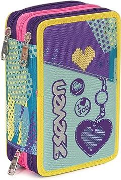 Estuche Escolar 3 Pisos - Seven - Lovely - Multi Compartimentos con lápiz, rotuladores, boligrafos… Violeta Azul: Amazon.es: Equipaje