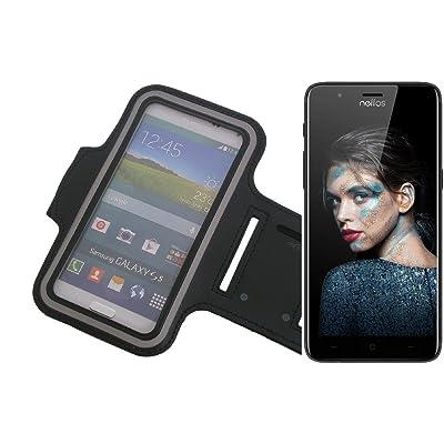 K-S-Trade Pour TP-LINK Neffos N1 Monter néoprène Brassard Jogging Case cover Housse Protection Sport pour TP-LINK Neffos N1 noir avec réflecteur. | entrée pour les écouteurs/bouchons d'oreil