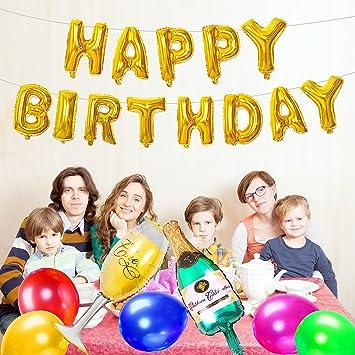 SPECOOL Feliz Cumpleaños Botella de Champagne y Globo Cáliz, Suministros de fiesta de decoración de