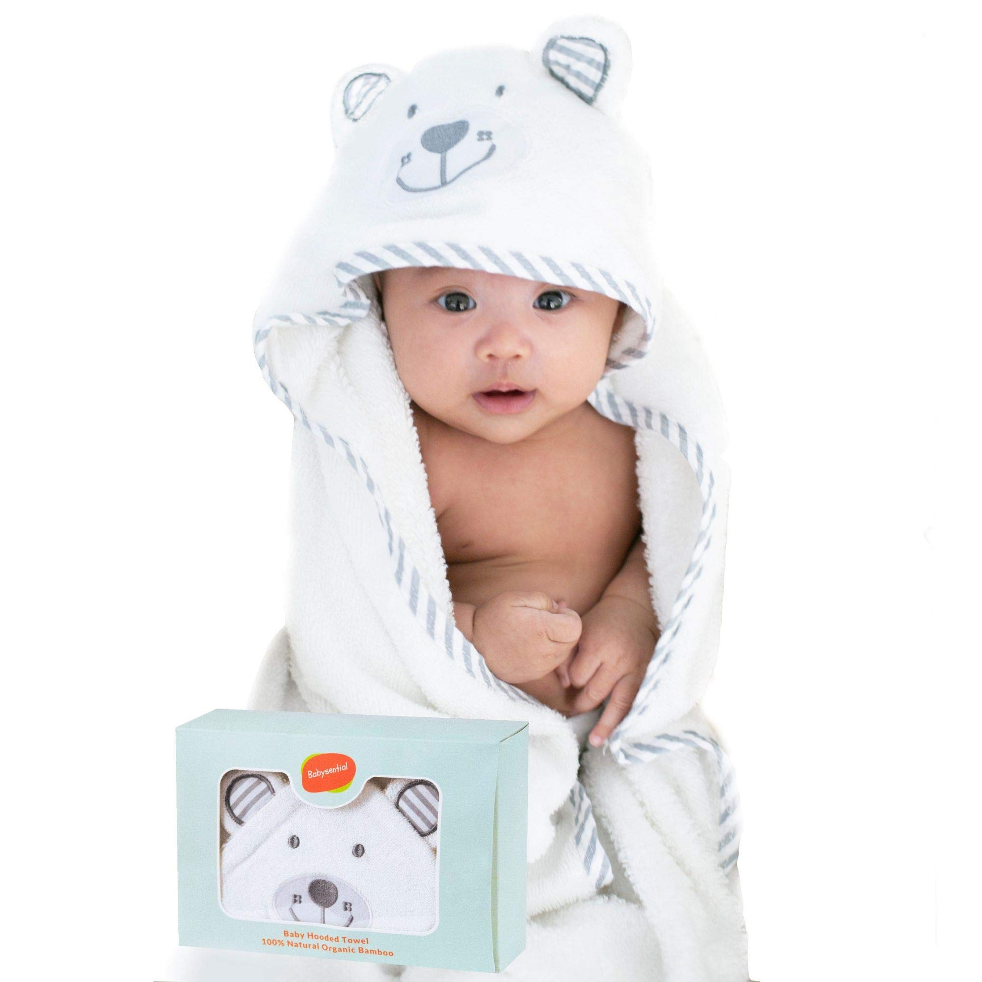 BABYSENTIAL - Organic Bamboo Baby Hooded Towel with Bonus Washcloth - Unisex Bear Design - Safe & Ultra Soft - Quick Drying - Anti Bacterial