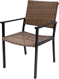 C-Hopetree Patio Chair for All Weather Outdoor Dining with Hand Woven Natural Wicker and Black Frame