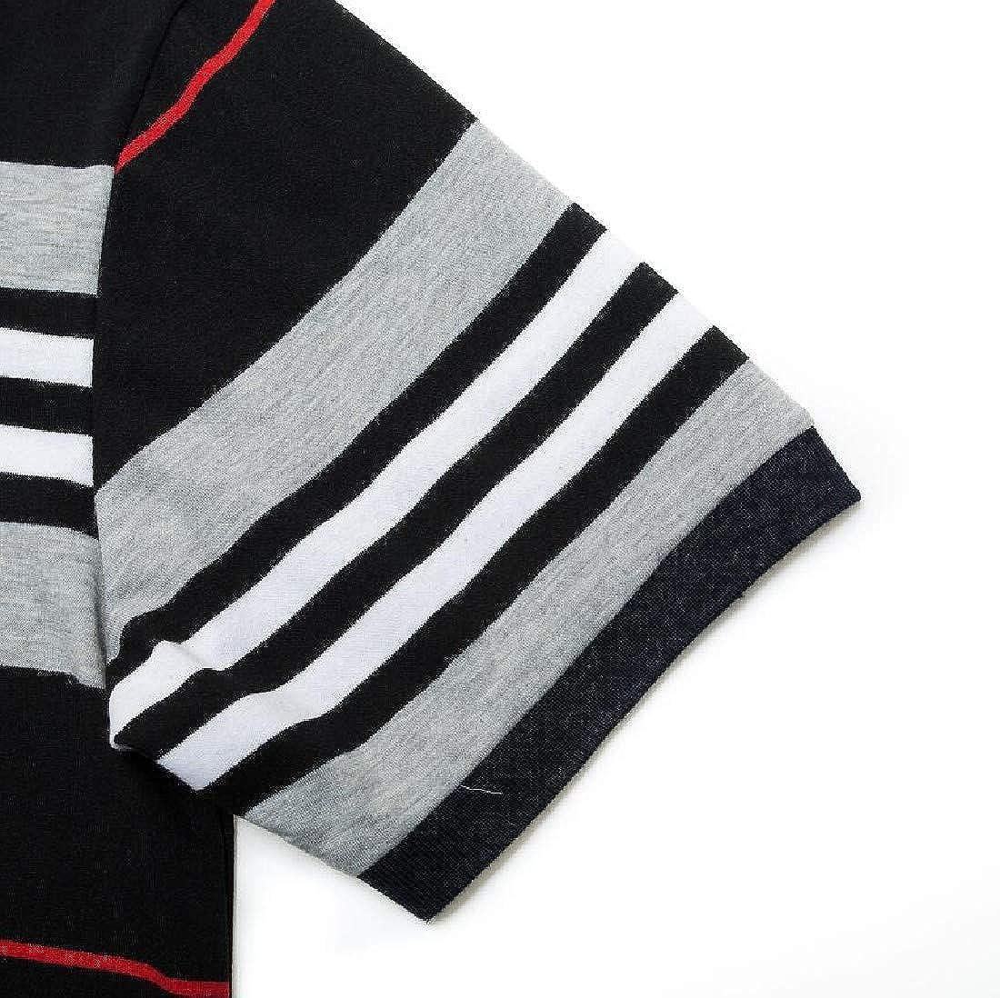 Zimaes-Men Polo Wide Stripe Short Sleeves Lapel Shirt Top T-Shirt