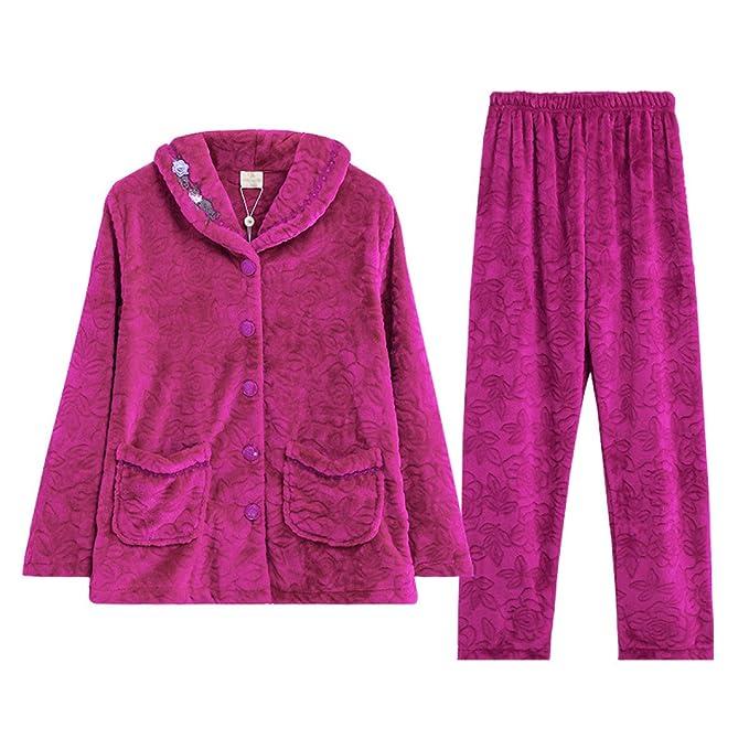 Las Mujeres Franela Traje De Pijama Tops Pantalones Suaves Y Cálidos Pijamas Terciopelo De Coral De