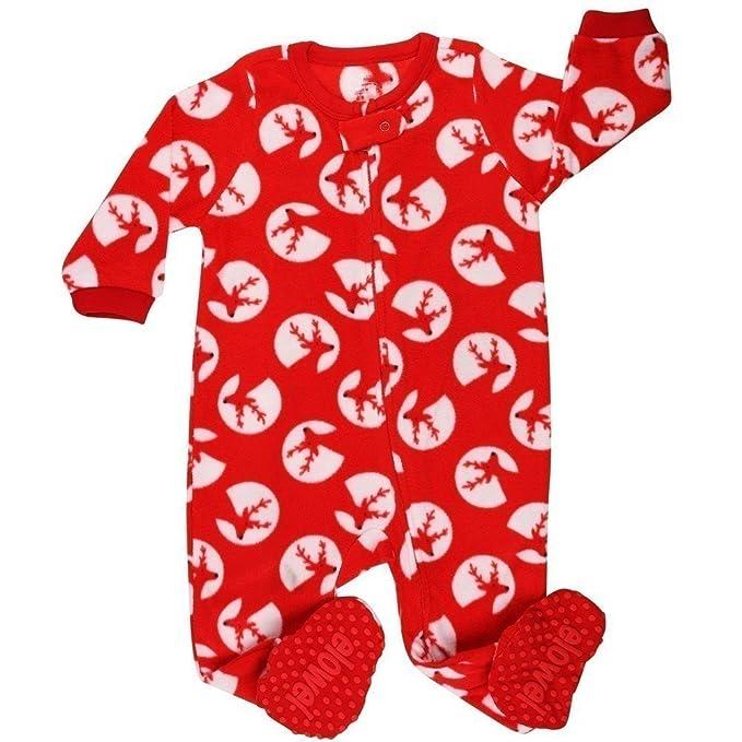 9b8a91bec Elowel Unisex Baby Red White Reindeer Print Footed Fleece Sleeper ...