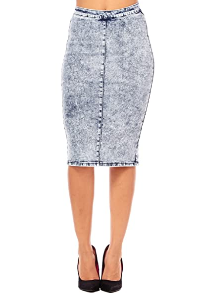 c2d5f7e96310 Womens Ladies Western Denim High Waisted Pencil Bodycon Skirts IS0634 (S, Acid  Wash) at Amazon Women's Clothing store: