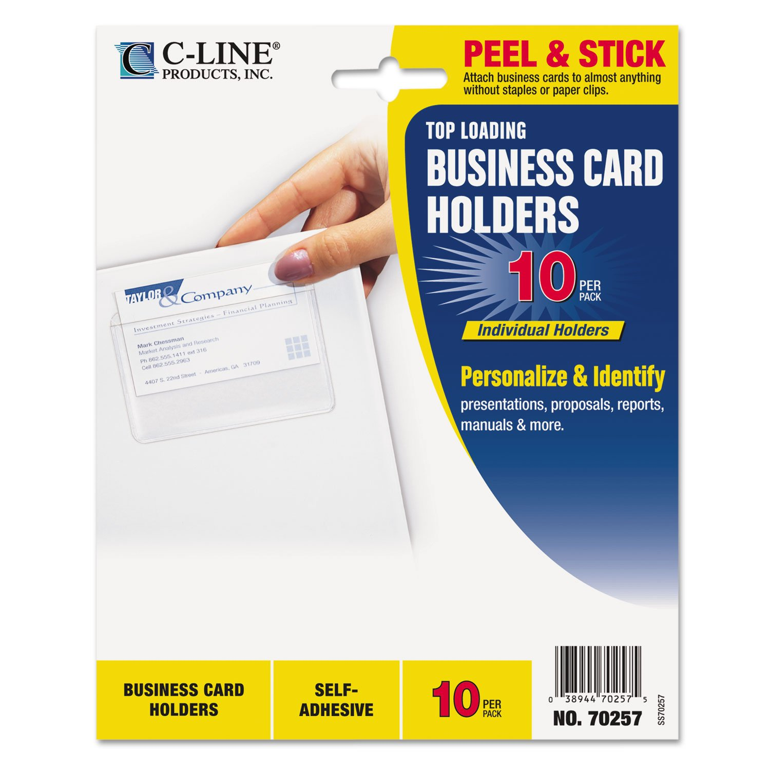 Amazon.com : C-LINE Self-Adhesive Business Card Holders, Top Load, 3 ...